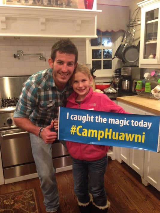 Huawni's Men's Assistant Director, Pete, catches the Camp Huawni magic with Lauren, 3 years at Camp.