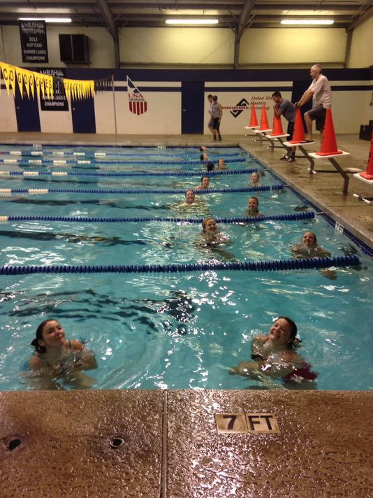 Counselors tread water for 2 minutes straight as part of their water-safety certification.