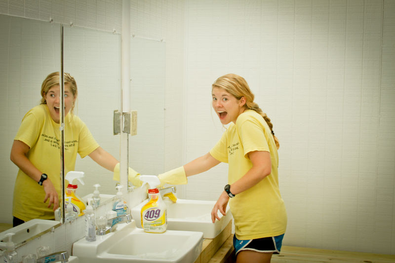 Jessica and crew scrubbed and cleaned bathhouses yesterday to make them extra clean for our families.