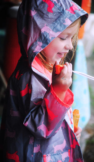 We did all kinds of activities in the rain today, including blowing bubbles.