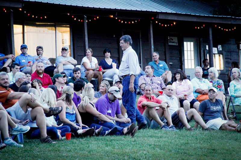 Mike told stories on Friday night on Flagpole Hill.