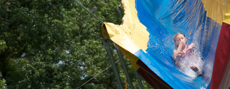 The Giant Water Slide- race like a bobsledder and be launched into the Critter Pond.  Kelly (1st yr at camp) enjoyed the slide so much in her first week that she came back for two more weeks!