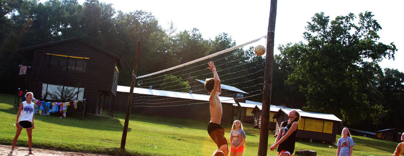 Sand Volleyball - learn or excel.campers at Huawni crave volleyball. Tori (7 yrs at camp) vollies during an after supper pick up game.