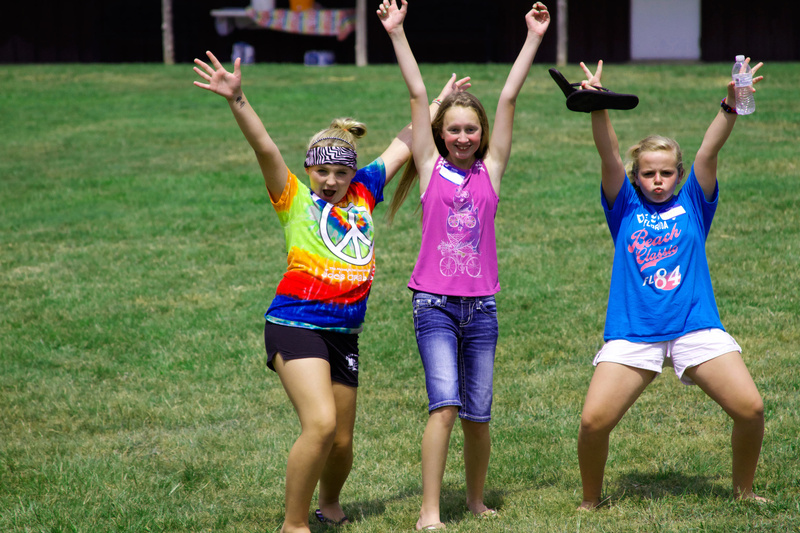 Alyssa (3 yrs at camp), Taylor (2 yrs) and Addie (2 yrs) show how stoked they are to come to Huawni on Opening Day.